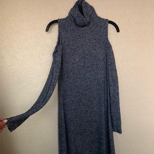Cold shoulder turtle neck dress